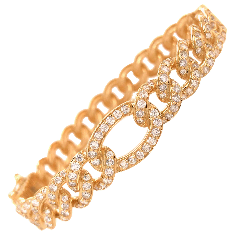 18 Karat Diamond Link Bangle Bracelet Yellow Gold