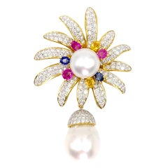 18 Karat Diamond, Multi-Color Sapphire and South Sea Pearl Brooch
