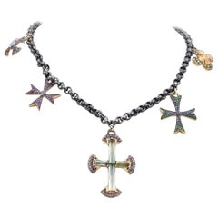 18 Karat Diamond, Multicolored Sapphire, and Green Tourmaline 5 Cross Necklace