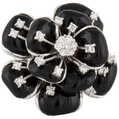 18 Karat Diamond Onyx Flower Ring