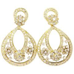 18 Karat Diamond Open Chandelier Drop Earrings