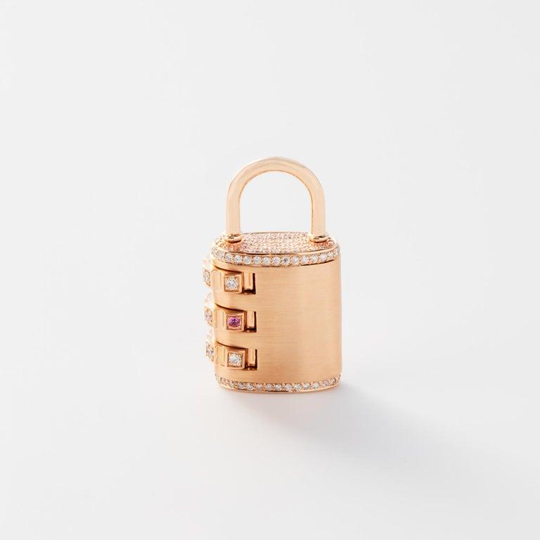 Contemporary 18 Karat Diamond Padlock Pendant with Handmade Curb Chain Necklace For Sale