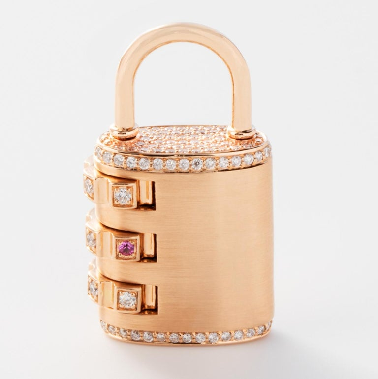 Women's or Men's 18 Karat Diamond Padlock Pendant with Handmade Curb Chain Necklace For Sale