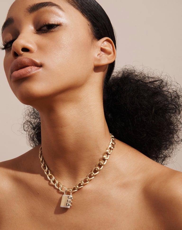 18 Karat Diamond Padlock Pendant with Handmade Curb Chain Necklace For Sale 2