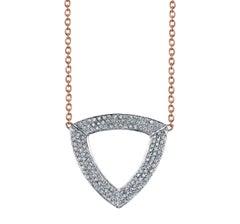 18 Karat Diamond Pave Geometric Faceted Trilogy Necklace