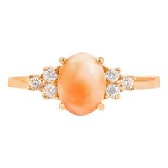 18 Karat Diamond Pink Coral Ring