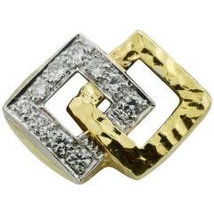 18 Karat Diamond Ring with Hammered Finish, circa 1960s