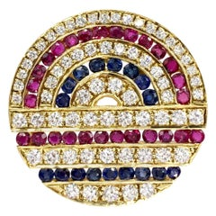 18 Karat Diamond, Ruby and Sapphire Circle Medallion Pendant or Brooch