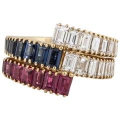 Nesting Diamond/Ruby and Diamond/Sapphire Bands