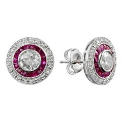 18 Karat Diamond Ruby Stud Earrings