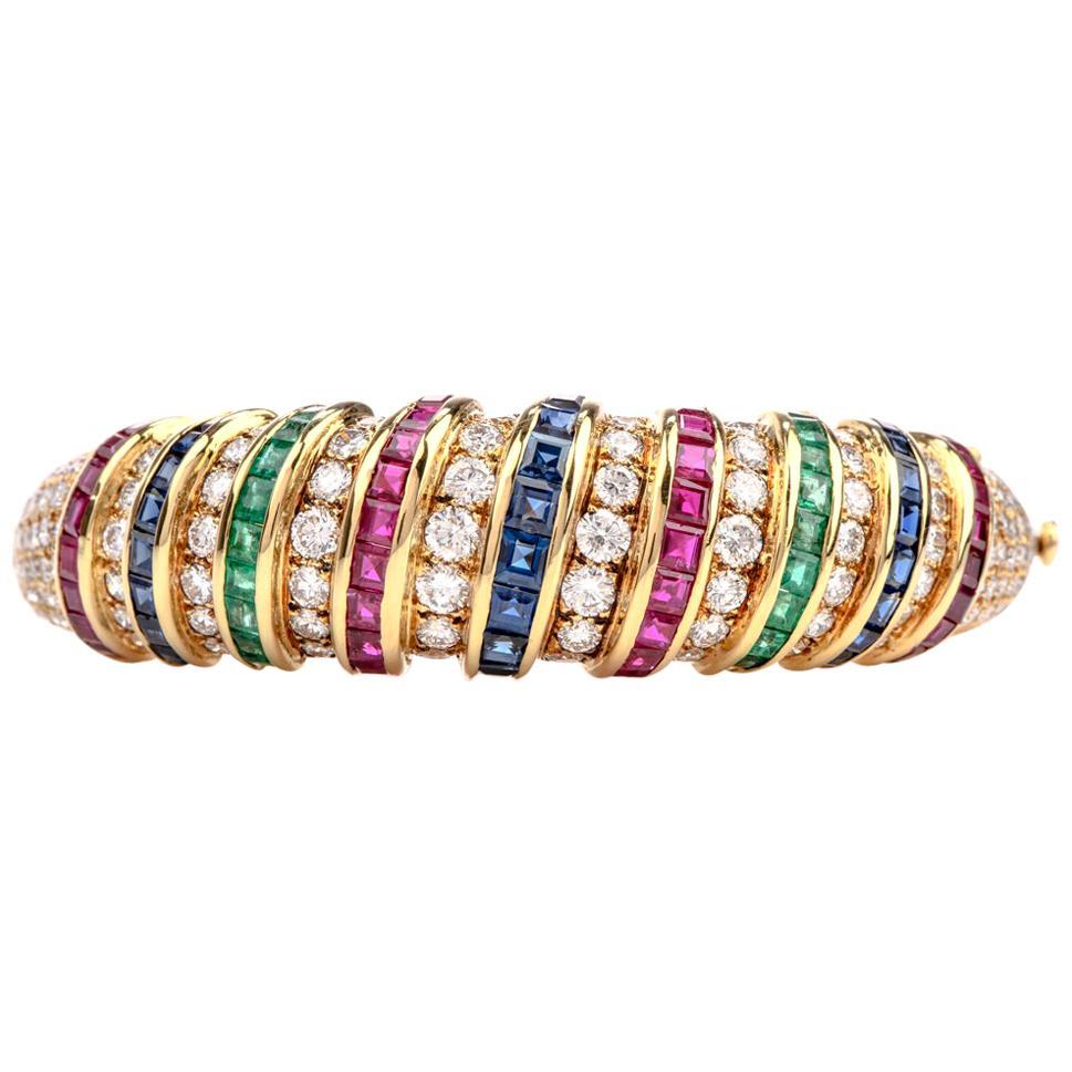 18 Karat Diamond Sapphire Emerald Ruby Gold Bangle Bracelet