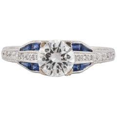 18 Karat Diamond Sapphire Ring