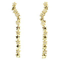 18 Karat Diamond Star Climber Drop Earrings