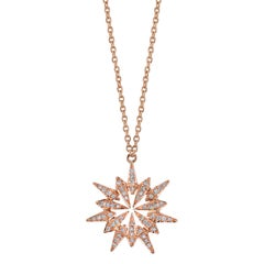 18 Karat Diamond Sunburst Pendant Necklace