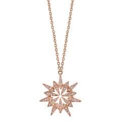 18 Karat Diamond Sunburst Pendant Necklace