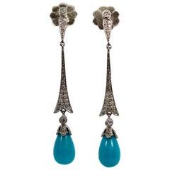 18 Karat Diamond Turquoise Drop Earrings