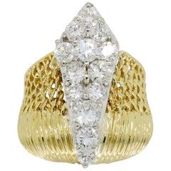 18 Karat Diamond Wave Dinner Ring