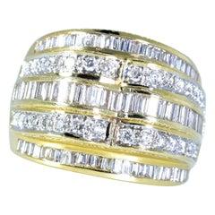 18 Karat Diamond Wide 5-Row Ring