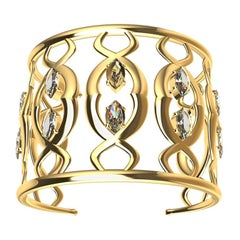18 Karat Double Arabesque Cuff Bracelet with GIA Diamonds
