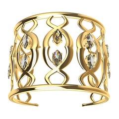 18 Karat Double Arabesque Cuff Bracelet with GIA Diamonds