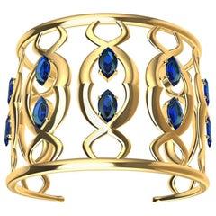 18 Karat Double Arabesque Cuff Bracelet with Sapphires