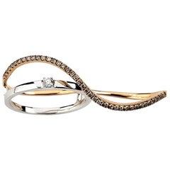 18 Karat Double Finger Diamond Ring 0.27 Carat