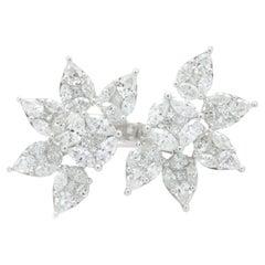 18 Karat Double Flower Diamond Ring