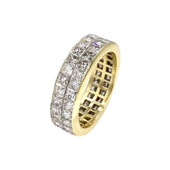 18 Karat Double Row Princess Cut Diamond Eternity Band