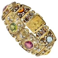 18 Karat Edwardian 36.0 Carat Untreated Multi-Gem Stone Diamond Rare Bracelet