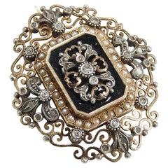 18 Karat Edwardian Pin Diamond Seed Pearl White Yellow Gold Black Onyx
