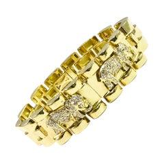 18 Karat Elephant Diamond Gold Bracelet