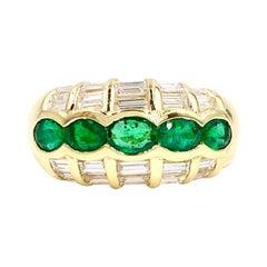 18 Karat Emerald and Baguette Diamond Ring