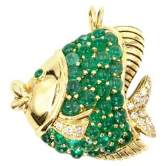 18 Karat Emerald and Diamond Fish Pendant or Brooch