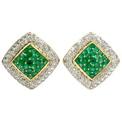 18 Karat Emerald and Diamond Large Square Button Earrings