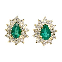 18 Karat Emerald and Diamond Pear Shape Earrings