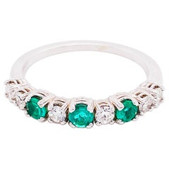 18 Karat Emerald and Diamond Ring .44 Carat Total Weight Ring May Gemstone