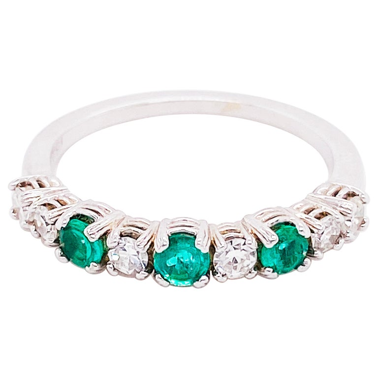 18 Karat Emerald and Diamond Ring .44 Carat Total Weight Ring May Gemstone For Sale