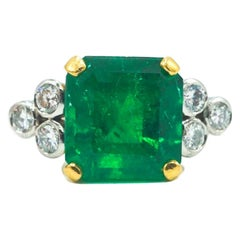 18 Karat Emerald and Diamond Ring with AGL Report