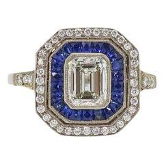 18 Karat Emerald Cut Diamond and Sapphire & Diamond Art Deco Cluster Ring