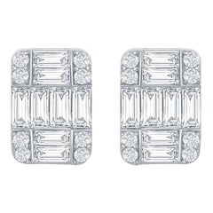 18 Karat Emerald Cut Rectangular Earrings 3.50 Carat