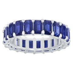 18 Karat Emerald Cut Sapphire Eternity Ring