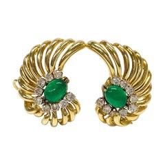 18 Karat Emerald Diamond Earrings
