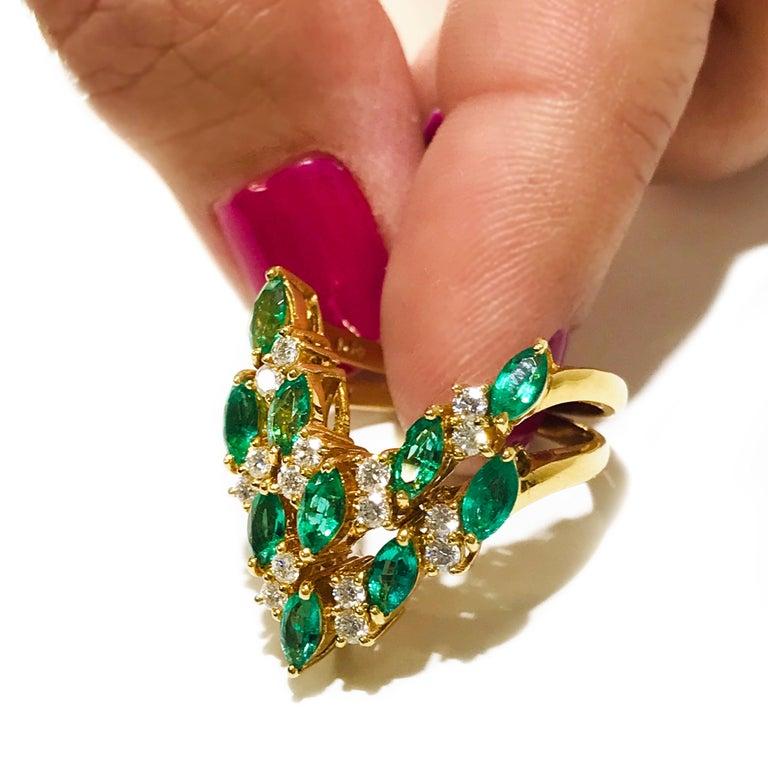 Marquise Cut 18 Karat Emerald Diamond Ring For Sale
