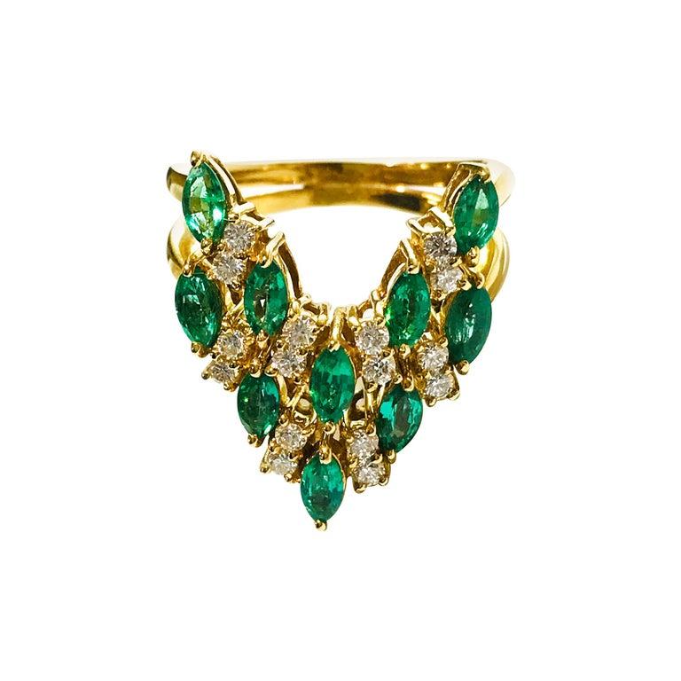18 Karat Emerald Diamond Ring For Sale