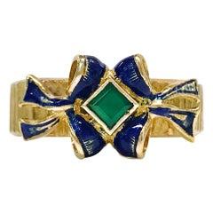 18 Karat Emerald Enamel Ring