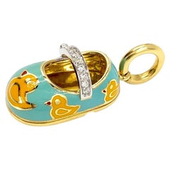 18 Karat Enamel and Diamond Aaron Basha Baby Shoe Charm