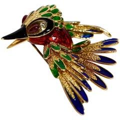 18 Karat Enamel Bird Gold Brooch Set with Rubies and Diamonds, Parrot