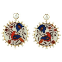 18 Karat Enamel Hand Painted Bird Diamond 19.75 Carat Pearl Earrings