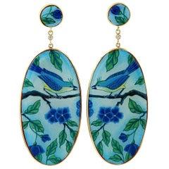 18 Karat Enamel Hand Painted Blue Jay Bird Mother of Pearl Diamond Earrings