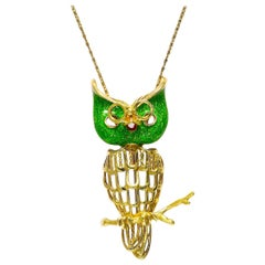 18 Karat Enamel Owl Pin/Brooch 15.30 Grams